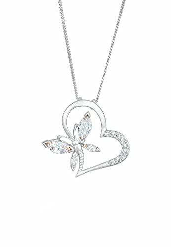 Elli Collares Mujer Colgante de Mariposa de Corazón Elegante con Cristales de Circonio en Plata Esterlina 925