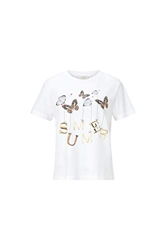 rich&royal T-Shirt with Butterfly Print Camiseta, Blanco (Blanco 100), S para Mujer