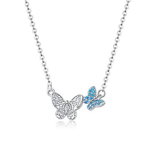Qings Colgante Mariposa,Collar de Mariposa Animal,Collar en Plata de Ley 925 Mariposa, Collar de Mariposa Animal