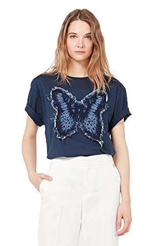 Twin Set Camiseta para Mujer con Mariposa En Tejido Denim Modelo 211TT2260 Color Marino (00384 Indaco). (XS)