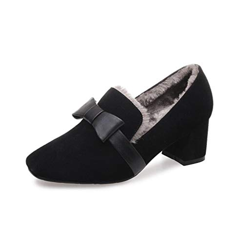 YIWU Otoño E Invierno Nudo De Mariposa Zapatos Maomao Tacones Altos Zapatos De Tacón Medio para Mujer Y Zapatos Individuales (Color : Negro, Size : EU39/UK6/CN39)