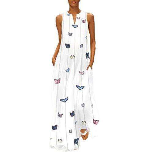 Vestido Largo Bohemio con Estampado de Mariposas de Las Mujeres Vestido Informal Sin Mangas Vestido Largo de Playa
