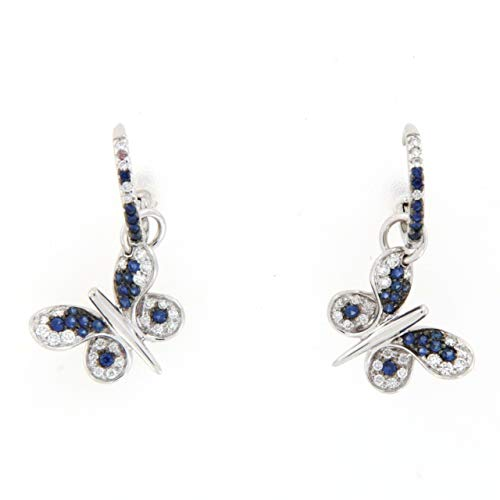 Pendientes mariposa diamantes zafiros Crevelli