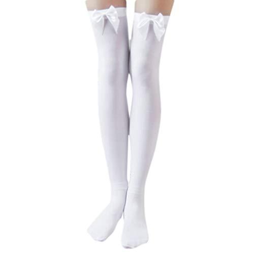 suoryisrty Moda Sexy Nylon Elástico en los Calcetines hasta la Rodilla Pantalones con Arcos Muslo para Mujeres y niñas Blanco Mariposa Calcetines Blancos