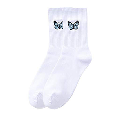lijun - Calcetines Largos de Rayas Acanalados para Mujer, Calcetines de Skate Bordados con Mariposas