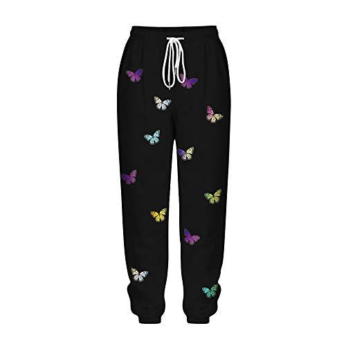 Pantalones Jogger Mariposa Impresión para Mujer, Morbuy Hippies Cintura Alta Baggy Pantalón Deportivos Chandal Tallas Grandes Yoga Pantalon para el Hogar Correr Deportes (Mariposa de Color,S)