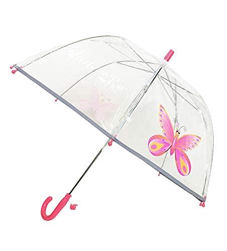 SMATI Paraguas niños Largo Transparente Mariposa Forma de Campana Borde Fluorescencia