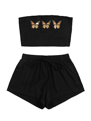 Floerns - Pantalones cortos con estampado de mariposas y cintura elástica para mujer -  Negro -  Small
