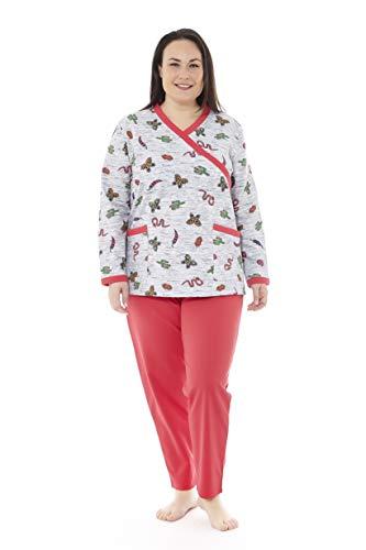 Mabel Intima Pijama Talla Grande Mujer Pijama Manga Larga y pantalón Largo. Color Gris y Rojo. Estampado Mariposas. Talla 66. 95% algodón-5% Spandex Tejido Medio, cálido y Suave