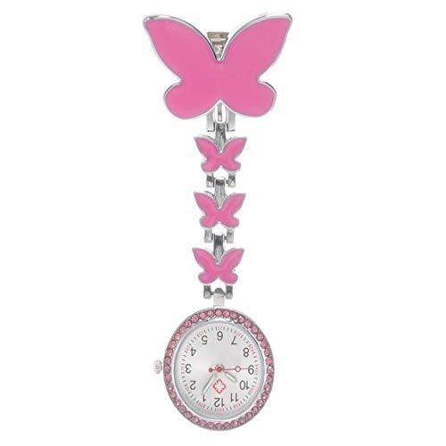 Ouqian Reloj de Enfermera Mariposa Linda Enfermera Tabla Médico Mujer Pecho Reloj de la Enfermera Chart Pared Estudiante Tabla de Deslizamiento Reloj de la Solapa para Las Enfermeras Médicos