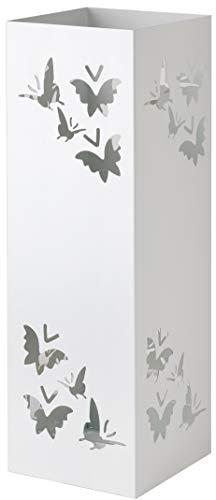 Baroni Home Paragüero cuadrado de metal con incrustación rectangular de mariposas blancas 15,5x15,5x49 cm con gancho y bandeja recogegotas extraíble