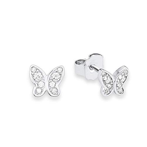 s.Oliver Pendientes para Niños con mariposa, de plata 925.rodiada con circonitas blancas.–.567640, Talla única (9233199)
