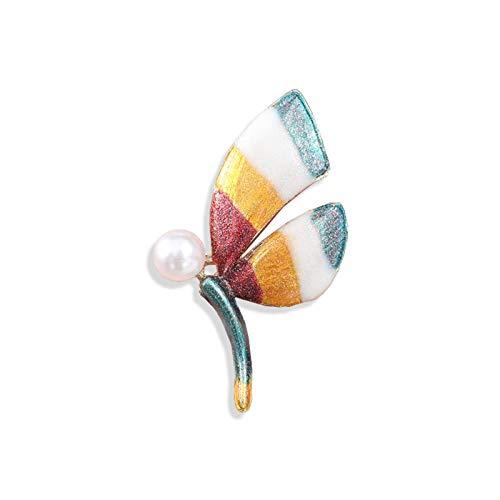 CLEARNICE Broche de Mariposa de Color Perla de Moda Pin de Insectos Ropa de Mujer Accesorios de joyería