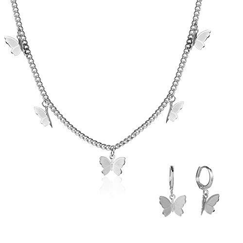 Juland - Collar con colgante de mariposa, diseño de mariposa, minimalista, joyería personalizada, regalo para mujeres y niñas de 15,7 + 2,7 cm, extensor con 1 par de pendientes, chapado en plata 2639