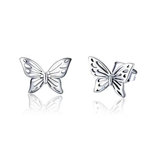 Qings Pendientes Mariposa Plata de Ley 925, Pendientes de Animales Mariposa Hueco Regalos para Mujeres Niña