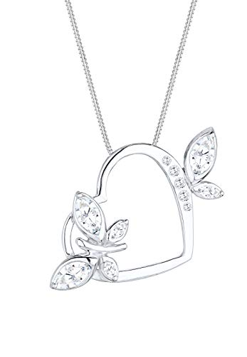 Elli Damen-collar con colgante de mariposas corazón 925 de plata blancos Marquesa - 0110810314_45