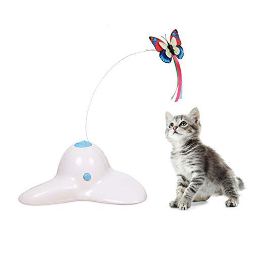 Suhaco Juguetes Interactivos para Gatos para Gatos de Interior Mariposa Giratoria para Gatitos Juguete Automático para Gatitos (Blanco)