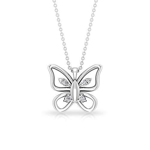 Collar con colgante de mariposa de diamante certificado IGI Marquis, de 0,18 ct, para mujer de honor, colgante de cadena, colgante de aniversario de cumpleaños, 14K Oro blanco