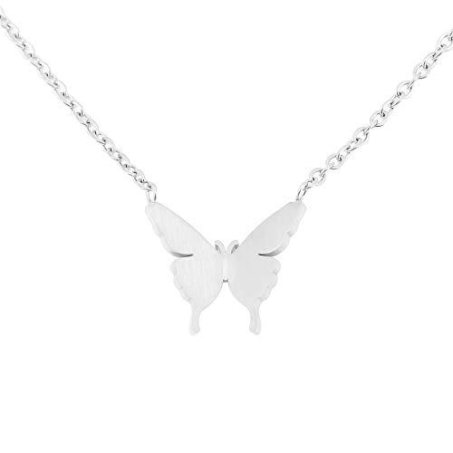 Collar de Mariposa Delicada para niñas Adolescentes, Collar Colgante de Mariposa Chapado en Oro de 18 Quilates para Mujer (Plata)