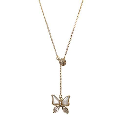 Holibanna Collar de Mariposa Cadena de Clavícula Cadena de Clavícula Colgante Oro Ópalo Colgante de Collar de Diamantes Joyería Regalo para Amiga Mujer Madre Amante (Dorado)