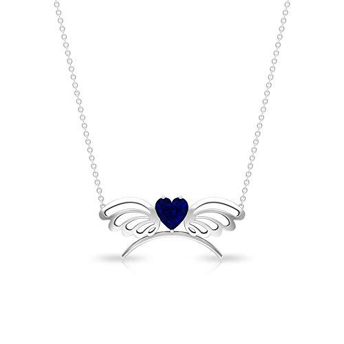 Collar con colgante de zafiro azul con forma de corazón de 1,00 quilates, certificado SGL, colgante de mariposa de oro azul antiguo, colgante de piedra natal de septiembre 14K Oro rosa