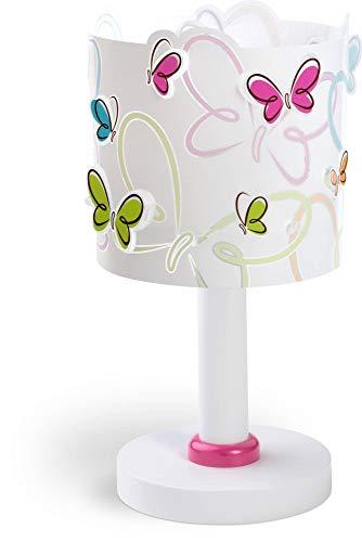 Dalber Lámpara de Mesilla Infantil Mariposas Butterfly E14, 40 W, Multicolor