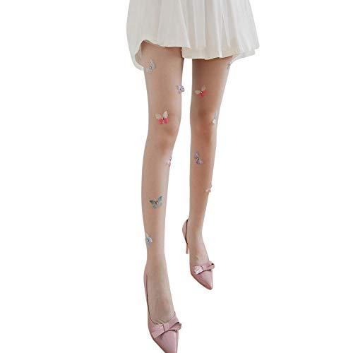 TIGERROSA Medias De Los Mujer Medias De Lolita Medias Para Mujer Diseño De Pantimedias Para Niñas Medias De Fiesta De Tatuaje De Mariposa Linda Medias De Nylon Medias Gris