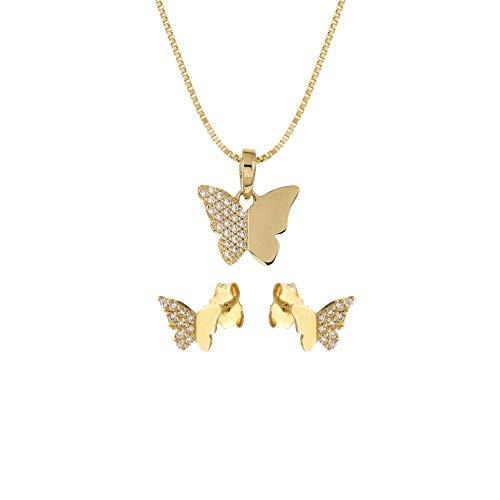 Juego de joyas de oro amarillo de 18 quilates 750/1000 con pendientes y colgante de mariposa con circonitas blancas