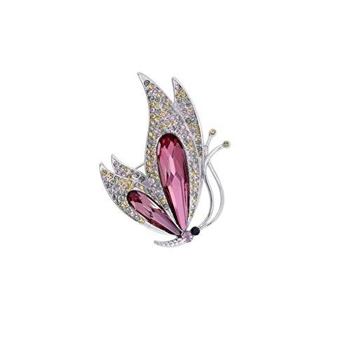 H-ei Broche de Mariposa con Forma de Elemento de Cristal, Insignia del Traje de Vestir, Bufanda con mantón, for Bodas, Fiestas, Banquetes 5.5x4cm (Color : Pink)