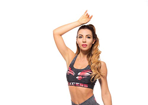 Excess Sujetador Deportivo para Mujer Shock Absorber Top Push Up Fitness Yoga Pilates Running Gimnasio Maillot de Ciclismo 3D de Fiesta Mujer Sexy Italiano Camisetas Dim Músculo S