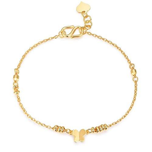 Beydodo Brazaletes Mujer Oro Amarillo 18K Mariposa Pulsera Oro Amarillo