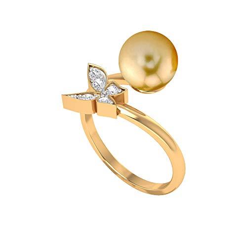 4.75 CT Perla del Mar del Sur y Diamante Mariposa Anillo envolvente (8 mm Perla del Mar del Sur), 14K Oro amarillo, Size:EU 62