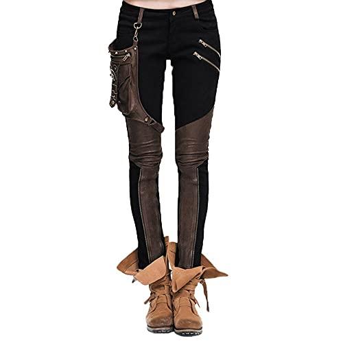 Devil Fashion Steampunk Pantalones de mujer con un bolsillo de cuero Gothic Pencil Pants Vintage Stitching Leggings (3XL, Negro y marrón)