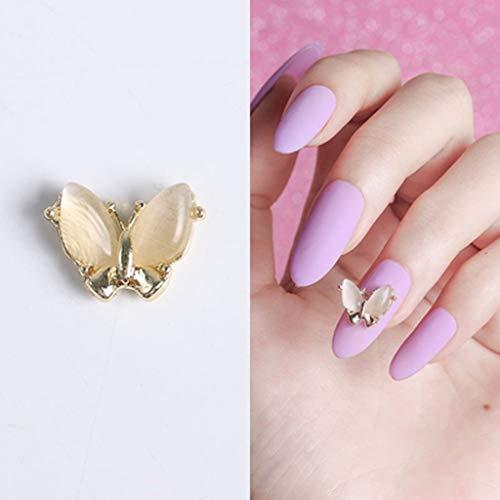 SMEJS Zjdmj 3D Volando Mariposa uñas Arte Decoraciones aleación Mariposa Sacudida de Cristal uñas joyería manicura Accesorios (Color : A)