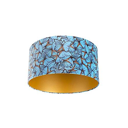 QAZQA Moderno Algodón Pantalla terciopelo diseño mariposa/oro 50/50/25, Redonda/Cilíndrica Pantalla lámpara colgante,Pantalla lámpara de pie