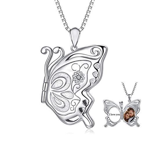 LONAGO Plata de Ley 925 Collar de Medallón Personalizado Que Contiene Imágenes Medallón de Mariposa Colgante Joyas de Collar para Mujeres (Mariposa 1)