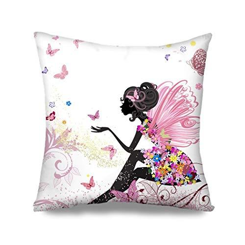 Ethaico - Funda de cojín para decoración del hogar, diseño de flores, diseño de hadas y mariposas