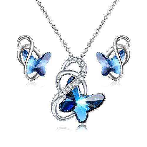 Regalos de aniversario de cumpleaños para ella, conjuntos de joyas de plata de ley con diseño de mariposa para mujeres y niñas, collar y pendientes con cristales de Swarovski