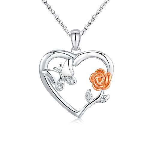 Collar de Flores Rosas Colgante de Corazón Plata de ley 925 Collar Mariposa Niña Collar Romántico Rosa para Mujer para Bodas, cumpleaños, Collar del día de Las Madres (Rosa Flor Mariposa)