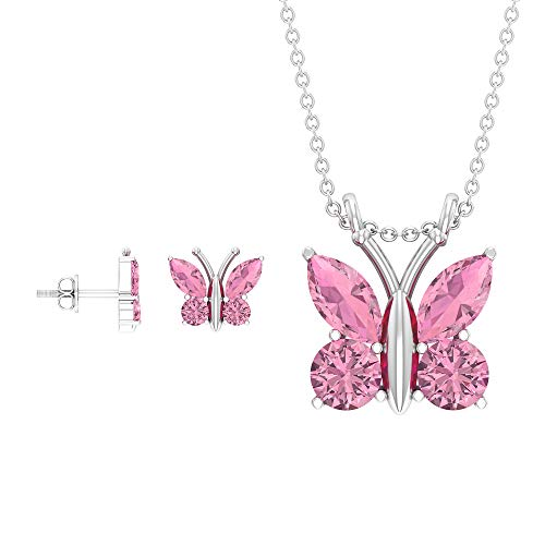 Juego de pendientes y collar de mariposa de 3,78 CT, collar y pendientes de turmalina rosa, con forma de marquesa, 14K Oro blanco Con cadena