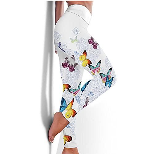 bayrick Nalgas de melocotón Sexy,Impresión Mariposa Pantalones de Yoga Pantalones de Yoga Hembra Abdomen HIST Hips Hips Legging-Blanco_3XL