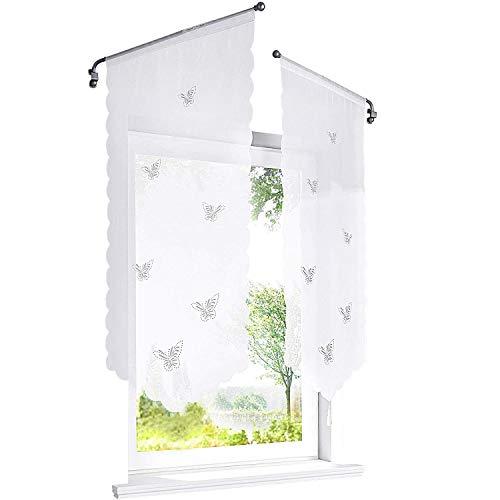ESLIR Visillo con mariposas, cortados a láser, para cocina, gasa transparente, Panneaux blanco, 90 x 40 cm, 1 pieza