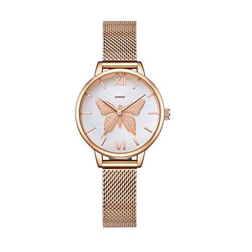 GPWDSN Reloj para Mujer Relojes para Mujer Reloj para Mujer Moda para Mujer Vestido para niñas Movimiento de Cuarzo analógico Correa de Acero-Mariposa (Color: A)