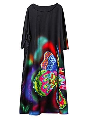 Mujeres Negro más tamaño Midi Vestido Chino Seda Impreso Color Mariposa romántica 2288 XL
