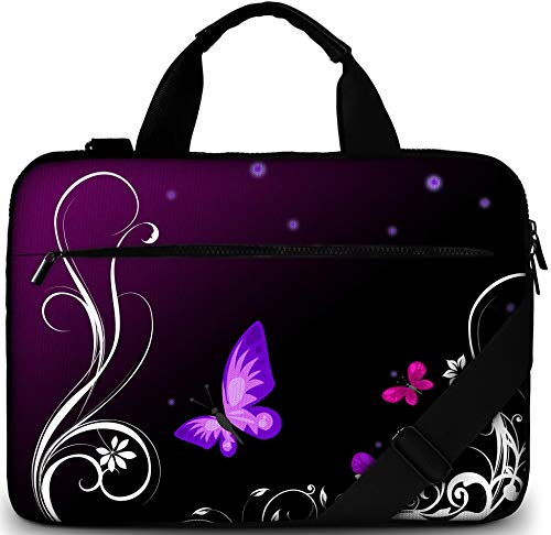 Sidorenko Bolsa para portátil de 17-17,3 Pulgadas - Butterfly A217- Bolso de Hombro para portátil: Bolso de Hombro Elegante De Diseño - Ordenador – Portátil
