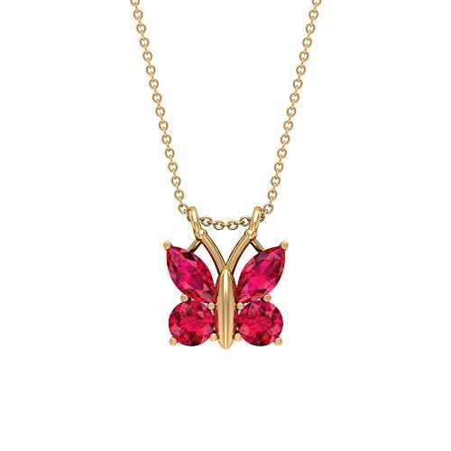 Collar de mariposa de rubí de 2,80 quilates, forma marquesa, colgante de piedra preciosa roja, corte redondo de julio, 18K Oro amarillo Con cadena