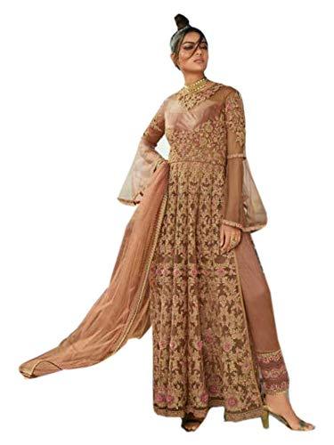 PINKKART Mujeres musulmanas indias/pakistaníes desgaste de la boda fiesta desgaste largo Anarkali Hijab vestido 5570