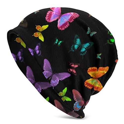 tyui7 Gorro con diseño de Mariposas de Colores, Ligero, Holgado, Holgado, elástico, Turbante para Hombres y Mujeres, Gorro de confinamiento, Diademas