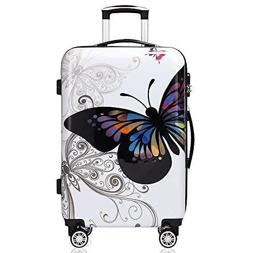 Monzana Maleta rígida Butterfly L livianas Equipaje de Viaje de 66L con Ruedas 360° Trolley 2 Asas valija Multicolor
