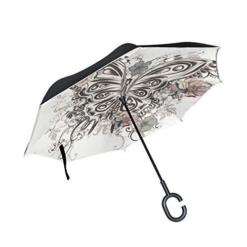 MAILIM Paraguas inverso Vintage con diseño de Mariposas y Flores, Doble Capa Resistente al Viento, Mango C, protección UV para el Coche y Las Mujeres y los Hombres